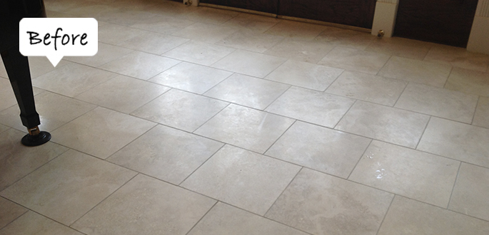 Sir Grout Bucks Travertine Before Honing and Polishing