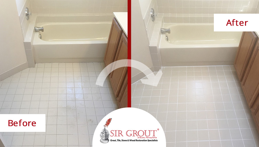 Before and After Picture of a Grout Cleaning Service in Chalfont, PA