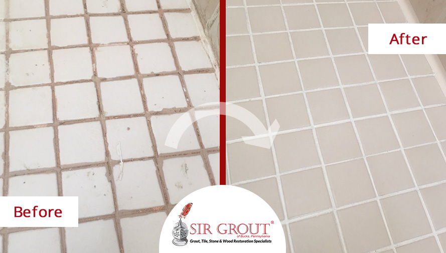Before and After Picture of a Restored Shower Floor After a Grout Recoloring Service in Blue Bell, PA