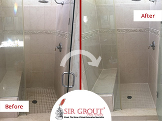 Before and After Picture of a Shower Floor Grout Recoloring Service in Blue Bell, PA