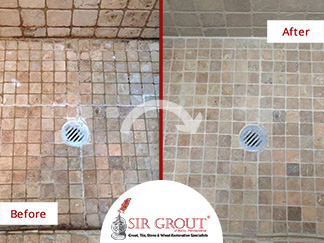 Before and After Picture of a Shower Stone Cleaning Service in Southamptom, Pennsylvania