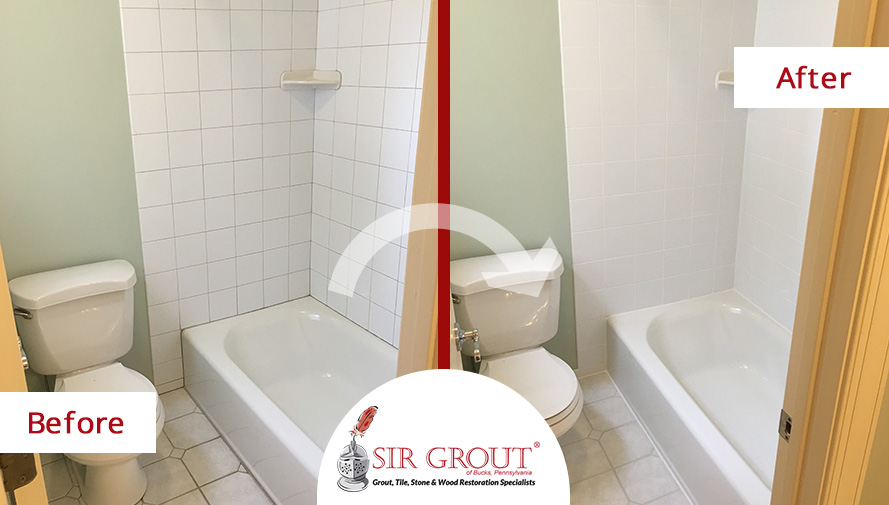 A Professional Grout Cleaning Left This Homeowners Bathroom In - Professional bathroom cleaning services