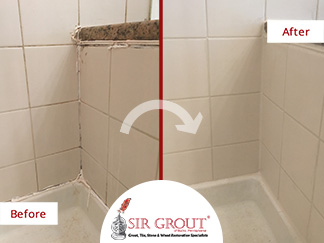 Before and After Picture of a Shower's Caulking Service in Horsham, Pennsylvania