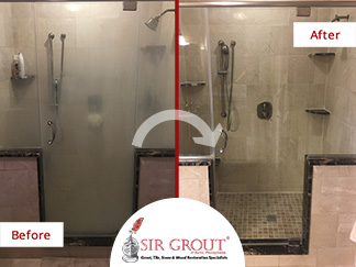 Before and After Picture of a Grout Sealing Service in Allentown, PA