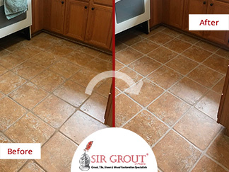 Before and After Picture of a Kitchen Floor Grout Sealing in Trumbauersville, Pennsylvania