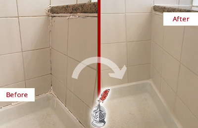 Before and After Picture of a Hilltown Shower Caulked to Repair Damaged Caulking
