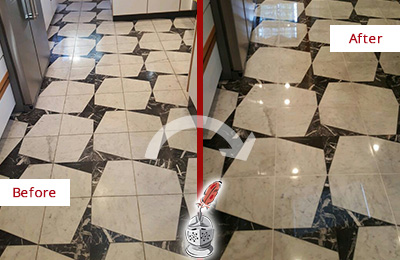 Before and After Picture of a Dull Chalfont Marble Stone Floor Polished To Recover Its Luster