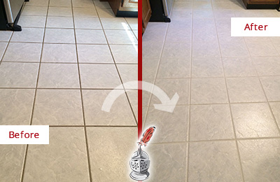 Before and After Picture of a Schwenksville Kitchen Ceramic Floor Sealed to Protect From Dirt and Spills