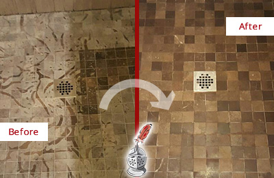 Before and After Picture of a Stained Forest Grove Marble Shower Floor Cleaned to Remove Etching