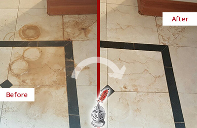 Before and After Picture of a Fountainville Marble Floor Honed to Remove Rust Stains