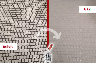 Before and After Picture of a Salford Hard Surface Restoration Service on a Bathroom Tile Floor Recolored to Fix Grout Color