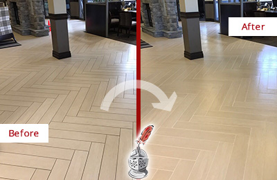 Before and After Picture of a Chalfont Lobby Floor Cleaned to Even the Grout Color