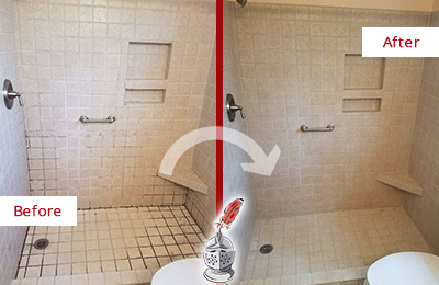 Before and After Picture of a Chalfont Shower Grout Cleaned to Remove Mold