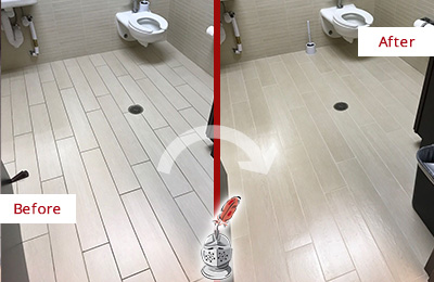 Before and After Picture of a Collegeville Office Restroom's Grout Cleaned to Remove Dirt