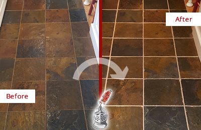 Before and After Picture of a Conshohocken Slate Floor Recolored Grout