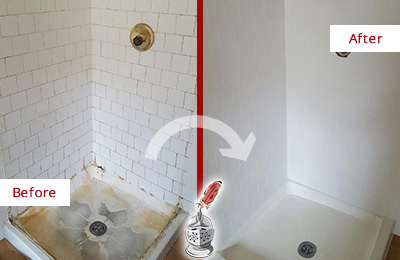 Before and After Picture of a Morrisville Shower Cleaned to Eliminate Mold