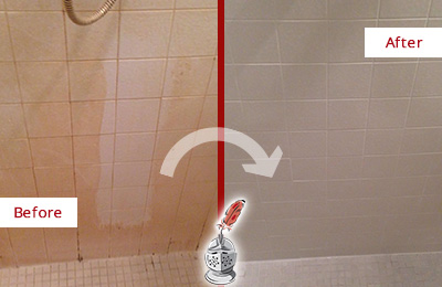 Before and After Picture of a Morrisville Porcelaine Shower Cleaned to Remove Soap Scum