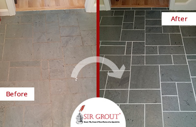 Slate Stone Cleaning and Color Enhancement-Before and After