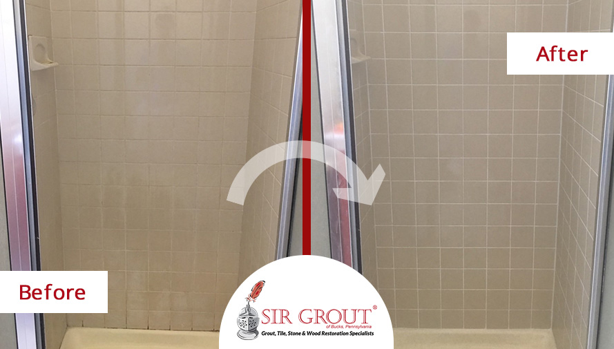 Before and After Picture of a Bathroom Grout Cleaning Service in Chalfont, Pennsylvania