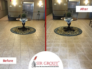 Before and After Picture of a Tile and Grout Cleaning Service in Langhorne, PA