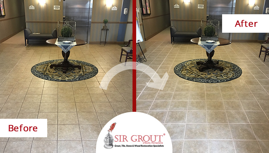 Before and After Image of a Tile and Grout Cleaning Service in Langhorne, PA