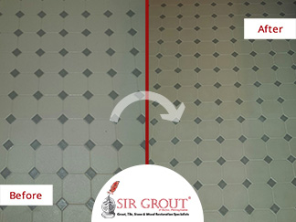 Before and After Picture of a Grout Recoloring Service in Newtown, Pennsylvania