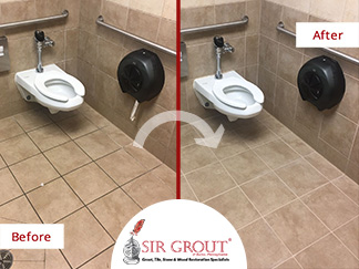 Before and After Picture of a Ladies' Room Grout Cleaning Service in Montgomeryville, Pennsylvania