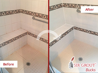 Before and After Picture of a Shower Caulking Services in Glenside, Pennsylvania