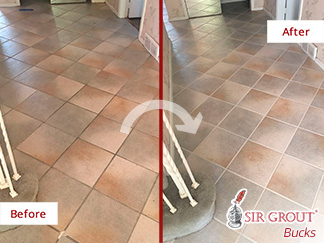 Before and After Picture of a Hall Tile Floor Grout Sealing Service in Philadelphia, Pennsylvania