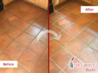 Before and After Picture of a Ceramic Tile Kitchen Floor Grout Sealing Service in Huntingdon Valley, PA