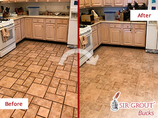 Before and After Picture of a Ceramic Tile Kitchen Floor Grout Cleaners in Souderton, Pennsylvania
