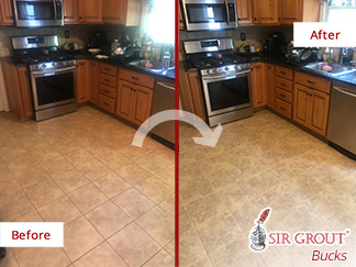 Before and after Picture of a Grout Cleaning Service in Southampton, PA