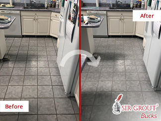 Before and after Picture of a Grout Cleaning Job in Richboro, PA