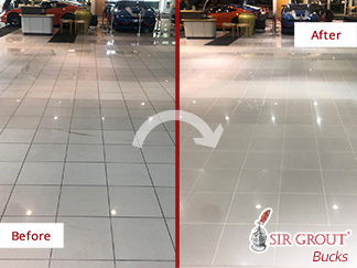 Before and after Picture of a Tile Cleaning Job in Royersford, PA