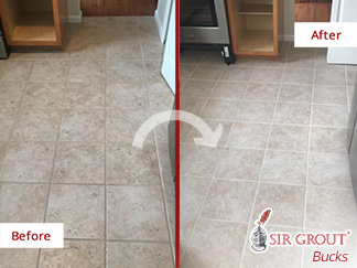 Before and After Picture of This Kitchen Floor After a Grout Sealing Job in Huntingdon Valley, PA