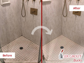 Before and After Picture of a Shower's Grout Sealing Service in Ambler, PA