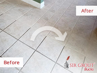 Before and After Picture of a Grout Cleaning Service in Royersford, PA