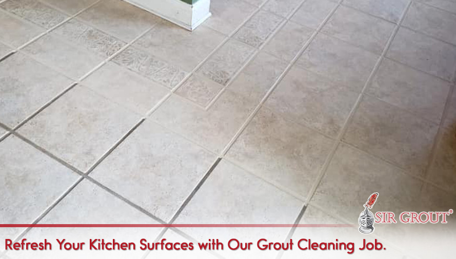 Kitchen Floor Before and After a Grout Cleaning Service in Royersford, PA