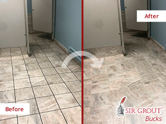 Before and After Picture of a Grout Cleaning Job in Warminster, PA