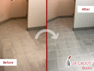 Picture of a Tile Floor Before and After a Grout Sealing Service in Blue Bell, PA