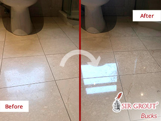 Picture of a Before and After Stone Polishing Service in Langhorne, PA
