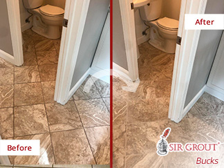 Picture of a Floor Before and After a Tile Sealing in Newtown, PA