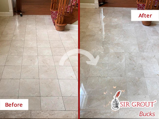 Picture of a Marble Floor Before and After Our Stone Polishing in Warminster, PA