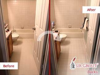 Side to Side Comparison of a Bathroom in Newtown, PA Before and After a Grout Cleaning Service