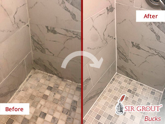 Before and After Image of a Marble Shower After a Stone Sealing on Southampton, PA