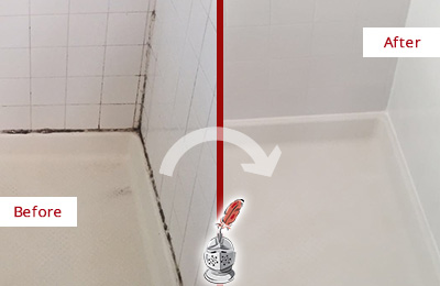 Before and After Picture of a Grout Caulking Service