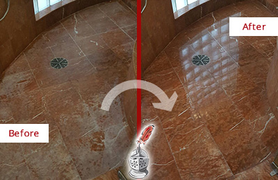 Before and After Picture of a Marble Shower Restored to Eliminate Mineral Deposits