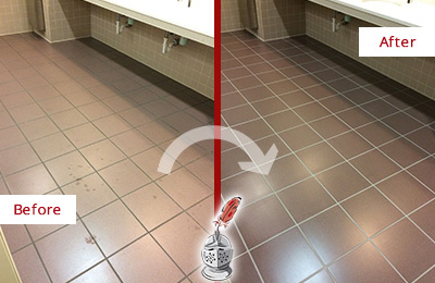 Before and After Picture of a Valley Forge Restrooms Tile and Grout Cleaned to Remove Embedded Dirt