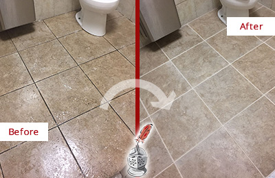 Before and After Picture of a Red Hill Restroom Tile and Grout Cleaned to Remove Soil