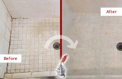Before and After Picture of a Audubon Shower Caulked to Fix Cracks
